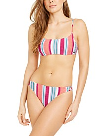 Juniors' Striped Hidden Underwire Bralette Bikini Top & Strappy Bottoms