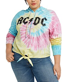 Trendy Plus Size AC/DC Tie-Dyed Hoodie