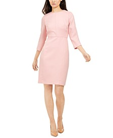 Seam-Waist 3/4-Sleeve Dress