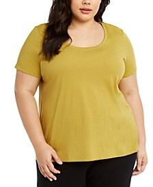 Plus Size Cotton U-Neck T-Shirt