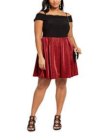 Morgan & Company Trendy Plus Size Off-The-Shoulder Glitter-Skirt Dress