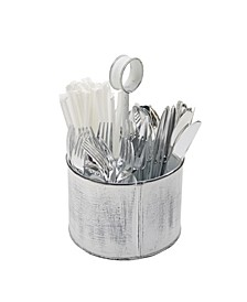 Paint Look Galvanized 4 Section Utensil Holder