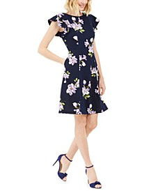 Petite Floral-Print Fit-and-Flare Dress