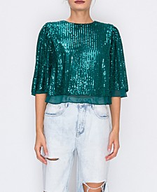 Sequin Top W/ Chiffon Lin