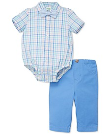 Baby Boys 3-Pc. Cotton Plaid Bodysuit, Pants & Chambray Bow-Tie Set