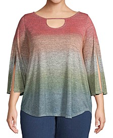 Plus Size Ombré Keyhole Top