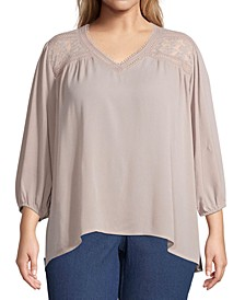 Plus Size Lace-Yoke Top