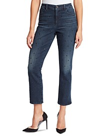 Women's Warren High-Rise Straight Ankle Jeans with Stud
