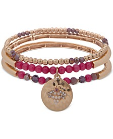 Gold-Tone 3-Pc. Set Charm & Beaded Stretch Bracelets