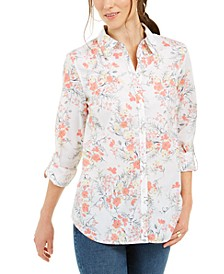 Petite Cotton Floral-Print Shirt, Created for Macy's