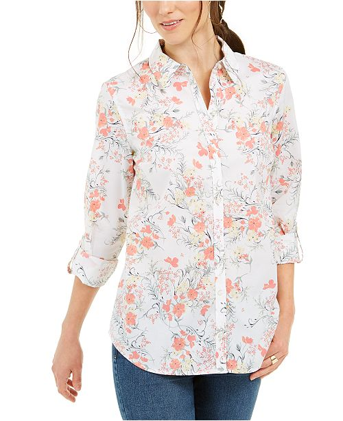 Charter Club Cotton Floral-Print Shirt, Created for Macy's