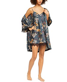 INC Floral-Print Lace-Trim Chemise Nightgown & Robe, Created For Macy's