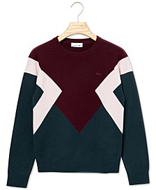 Long-Sleeve Colorblock Wool Sweater