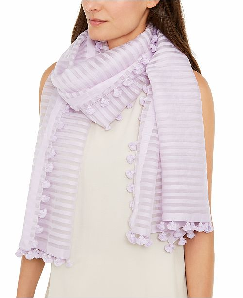 Eileen Fisher Organic Cotton Striped Tasseled Scarf