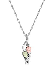 "Grape and Leaf Motif Pendant 18"" Necklace in Sterling Silver with 12K Rose and Green Gold"