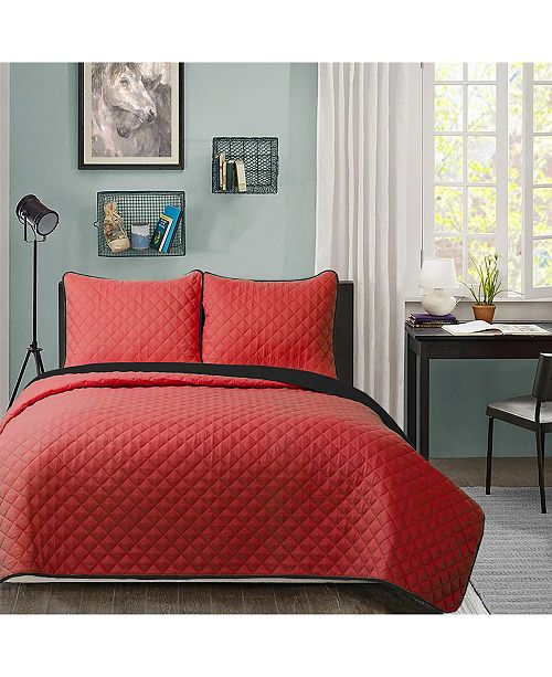 Welcome Industrial University Solid Reversible 2pc Twin XL quilt set Red reverse to Black