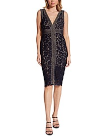 V-Neck Allover-Lace Sheath Dress
