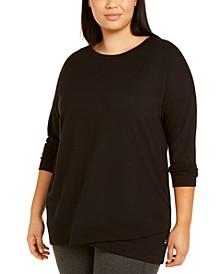 Plus Size Crossover-Hem Sweatshirt, Created For Macy's