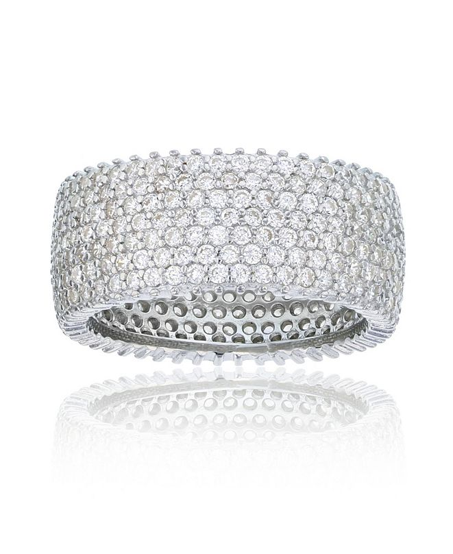 Macy's Cubic Zirconia  Micropaved Multi Row Eternity Band in Rhodium Plated Sterling Silver