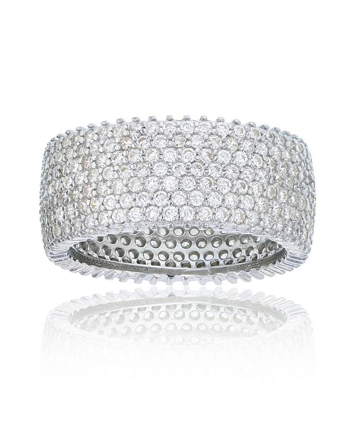Macy's - Cubic Zirconia Micropaved Multi Row Eternity Band in Rhodium Plated Sterling Silver