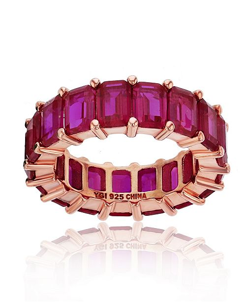 Macy's Red Cubic Zirconia Eternity Band in 14k Rose Gold Plated Sterling Silver