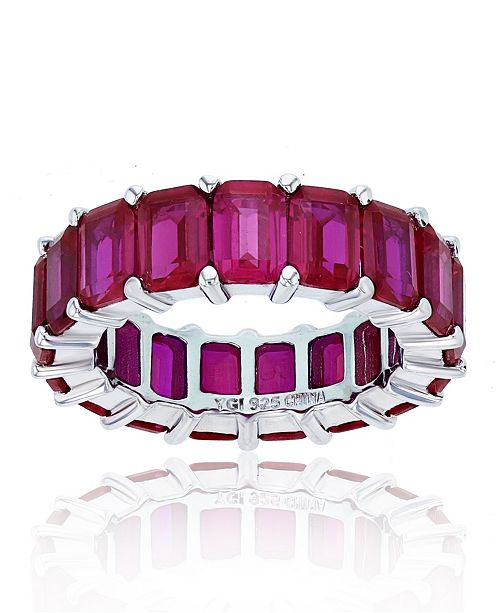 Macy's Red Cubic Zirconia Eternity Band in Rhodium Plated Sterling Silver