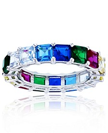 Rainbow Colored Cubic Zirconia Eternity Band in Rhodium Plated Sterling Silver