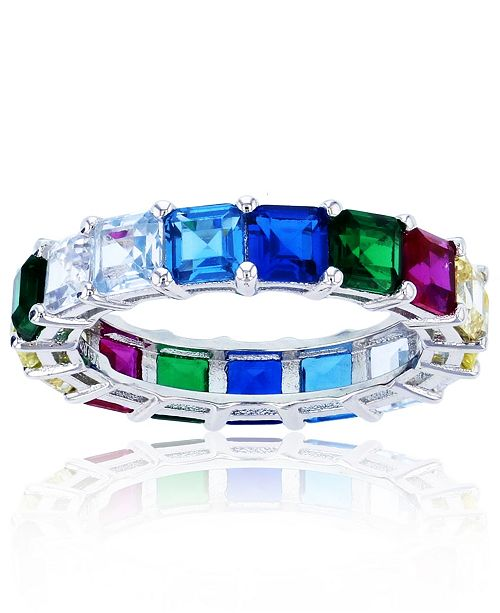 Macy's Rainbow Colored Cubic Zirconia Eternity Band in Rhodium Plated Sterling Silver