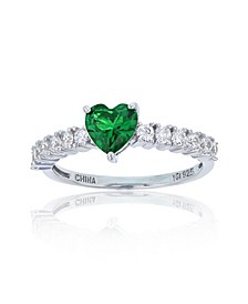 Red or Green Heart Cubic Zirconia Ring in Rhodium Plated Sterling Silver