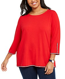 Plus Size Striped-Trim Top