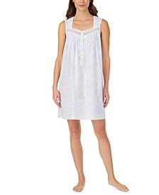 Cotton Lace-Trim Chemise Nightgown
