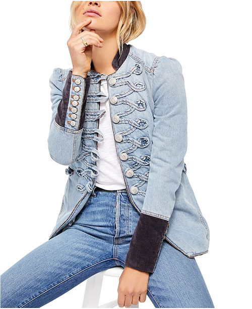 Free People Denim Seamed & Structured Jacket
