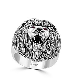 EFFY® Men's Certified Ruby and Onyx Lion Ring in Sterling Silver