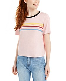 Juniors' Cotton Rainbow-Striped Graphic T-Shirt