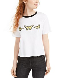 Juniors' Cotton Butterfly Graphic T-Shirt