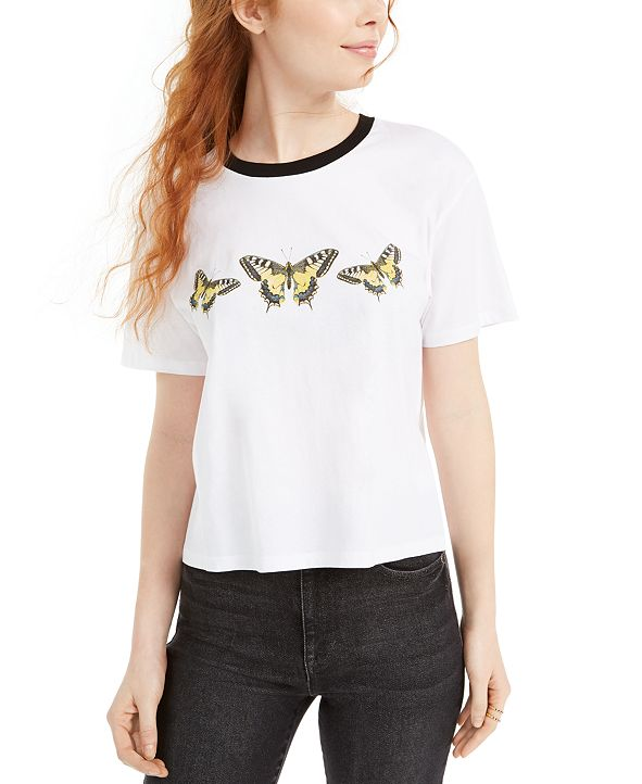 Rebellious One Juniors' Cotton Butterfly Graphic T-Shirt