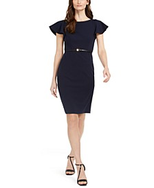Petite Ruffle-Sleeve Belted Dress