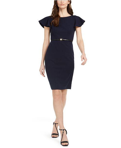 Calvin Klein Petite Ruffle-Sleeve Belted Dress