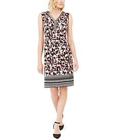 Printed Beaded Sleeveless Dress, Created for Macy's