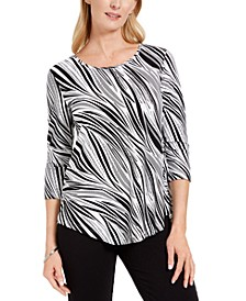 3/4-Sleeve Wavy Dream Top, Created for Macy's