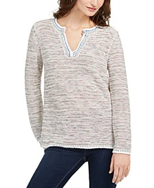 Petite Split-Neck Melange Sweater, Created for Macy's