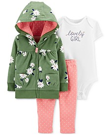 Baby Girls 3-Pc. Cotton Lovely Girl Hoodie, Bodysuit & Leggings Set