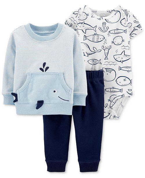 Carter's Baby Boys 3-Pc. Cotton Whale Top, Bodysuit & Pants Set