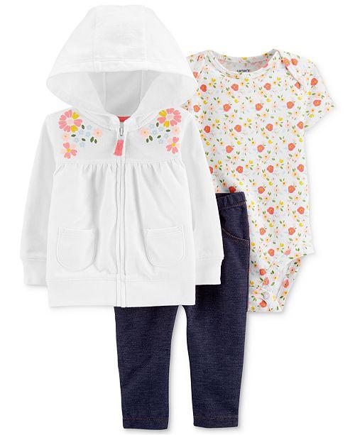 Carter's Baby Girls 3-Pc. Floral Hoodie, Bodysuit & Leggings Set