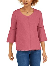 Crochet-Trim Bell-Sleeve Top, In Regular and Petite, Created for Macy's