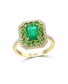 EFFY®  Emerald(1-1/10 c.t. t.w.), Tsavorite (1 ct.t.w.) and Diamond (1/4 ct.t.w.) in 14K Yellow Gold
