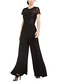 Sequinned-Top Wide-Leg Jumpsuit