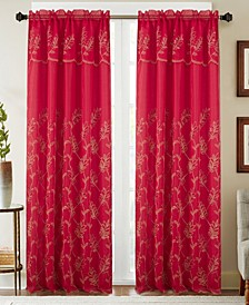 "Burton Floral Embroidered 54"" x 90"" Curtain Panel With Attached Valance"
