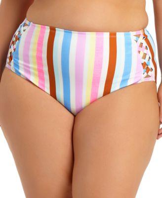 Trendy Plus Size Striped High-Waist Bikini Bottoms, Created for Macy's