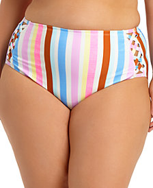 California Waves Trendy Plus Size Striped High-Waist Bikini Bottoms, Created for Macy's